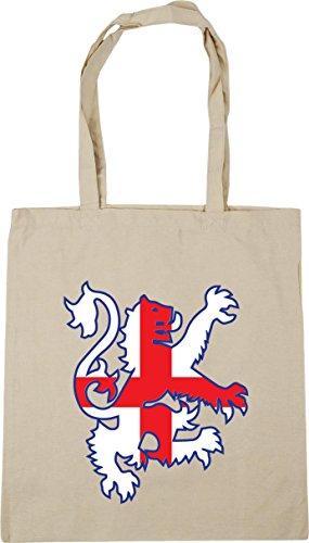 HippoWarehouse Football lion england flag Tote Shopping Gym Beach Bag 42cm x38cm, 10 litres Natural
