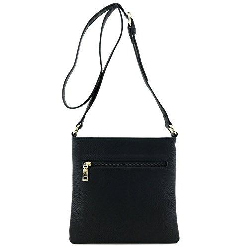 Crossbody Plate Gold Black Bag Modern with Classic Medium Size Solid SxWT74qnOI