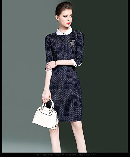 Waist Doll Dresses Body Dress High Collar Women`s Con Blue cotyledon qBESq