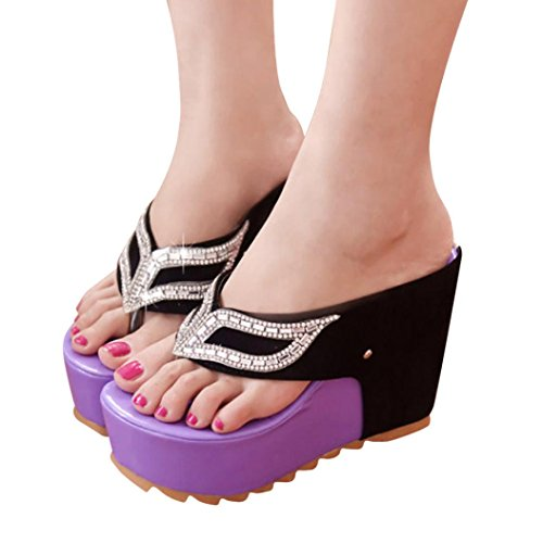 LANDFOX Mujeres Moda Verano Rhinestones plana Flip Flops Sandalias Mocasines Bohemia púrpura