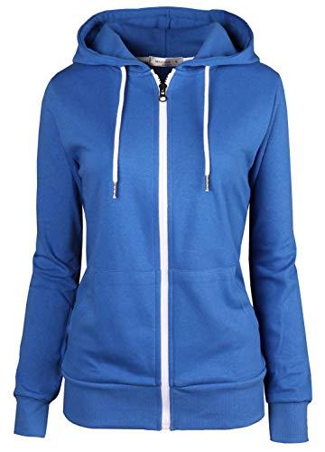 MAJECLO Women's Casual Full-Zip Hooded Lightweight Long Sleeve Sweatshirt (Small, 2019_Royal Blue)