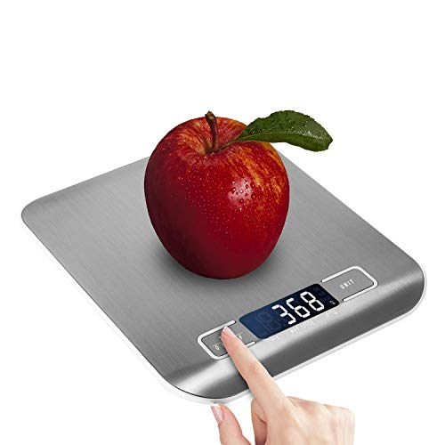 Domini Digital Kitchen Scale,Food Scale for Meat Bakers Weighing,Unit Gram OZ lb Up 11 lb(1g-5KG),Silver Stainless Steel Anti-Fingerprint Oil with Hook and Accuracy LCD Display (include Battery) by Do mini