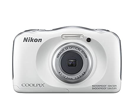 Nikon Coolpix W100 13.2 MP Point and Shoot Digital Camera  White  with 3X Optical Zoom, Card and Camera Case
