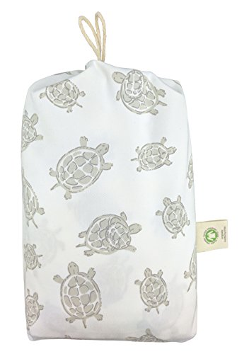 Fitted Crib Sheet in GOTS-Certified Soft Organic Cotton for Baby or Toddler, Turtle Print (Gray)]()