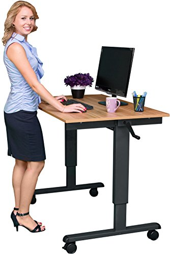 48' Crank Adjustable Height Standing Desk (Charcoal Frame / Natural Walnut Top)