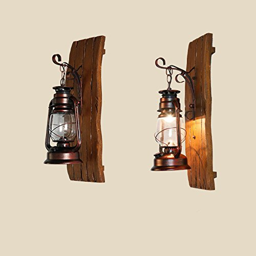 American Country Iron Wood Kerosene Lantern Creative Hand Carved Wooden Antique Mediterranean Glass Wall Lamp Light 190300Mm Outdoor Kids Living Room Bedroom Wedding Birthday Party Gift by GAW Lighting Co.Ltd (Image #2)
