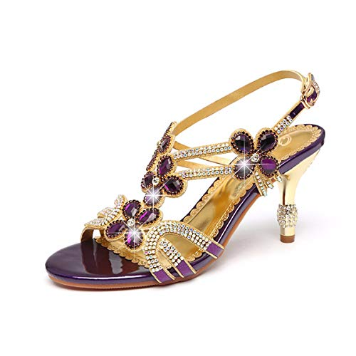Altura Cristal Mujer Violet Diamante Taladro Moda Cm Hbdlh agua Tacón Tacon 8 Roma Zapatos De Del Fino Sandalias Embutido fqxUEw7z
