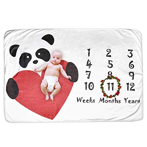 Double-Sided Pandastic Baby Milestone Blanket for Baby Photography, Great Baby Shower Gift for Newborn Boys and Girls, Comes with Free Flower Ring Frame. for Infants and Swaddling
