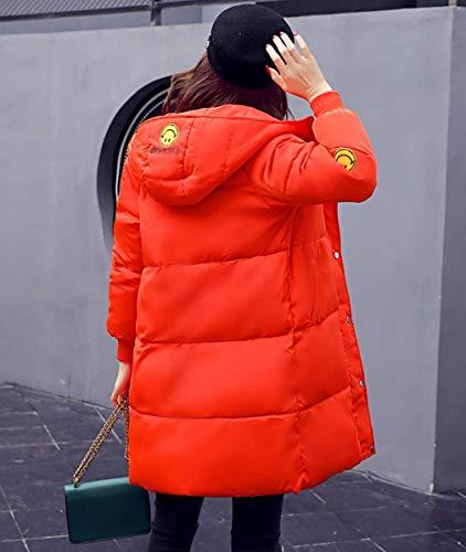 Calda Con Giubotto Cappuccio Pulsante Piumini Manica Cappotti Donna Monocromo Giovane Arancia Laterali Invernali Tasche Lunga Abbigliamento Cerniera Giacca Moda qnYEfwCg