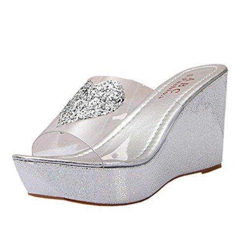 Fulltime(TM) - Zapatos de tacón  mujer plata