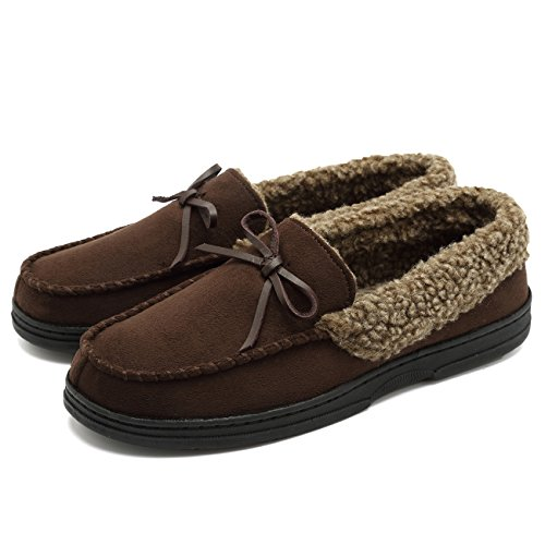CIOR Fantiny Men's Memory Foam Slipper Suede Faux Fur Lined Indoor & Outdoor Moccasins Slip On-U118WMT008-brown-M-46 -