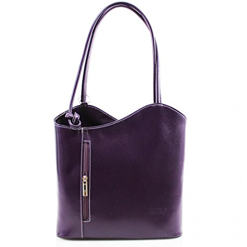 Womens Real Italian Leather Shoulder Bucket Backpack VERA PELLE Handbag Purple
