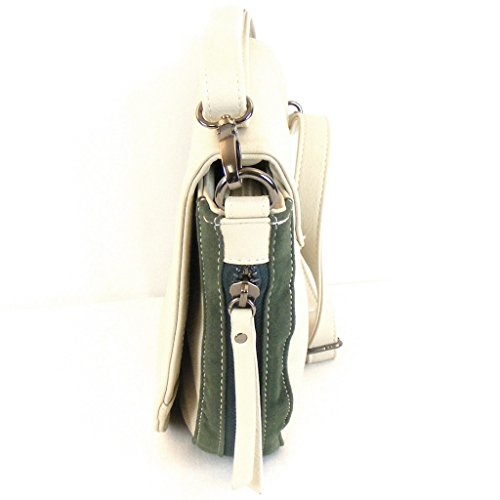 Fashionland Damen Tasche Überschlagtasche Synthetik beige/grün 9971