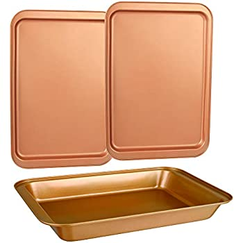 CopperKitchen Baking Pans - 3 pcs Toxic Free NONSTICK - Organic Environmental Friendly Premium Coating - Durable Quality - Rectangle Pan, Cookie Sheet - BAKEWARE SET (3)