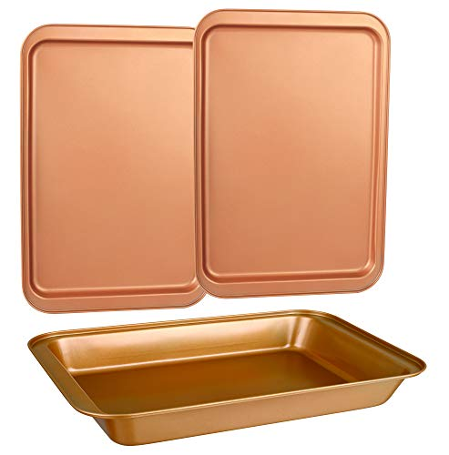 Non Stick Medium Cookie - CopperKitchen Baking Pans - 3 pcs Toxic Free NONSTICK - Organic Environmental Friendly Premium Coating - Durable Quality - Rectangle Pan, Cookie Sheet - BAKEWARE SET (3)