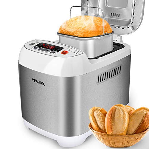 VIVREAL Bread Maker, Automatic Breadmaker Machine 1.5LB, Home Bakery Pro 12 Menus with Gluten Free, 3 Crust Colors 2 Loaf Sizes, 15h Delay Time 1h Keep Warm, Superior Safety ETL Listed Stainless Steel by VIVREAL (Image #7)