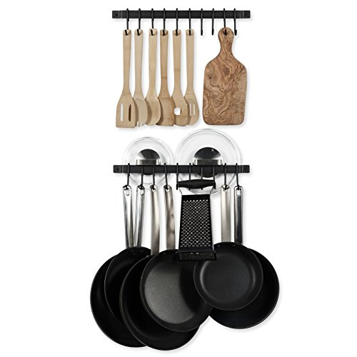"WALLNITURE Gourmet Kitchen Rail Hanging Utensil Organizer Rack with Hooks Iron Black 17"" Inch Set of 2 (Holder Utensil Wall Mounted)"