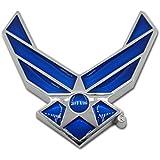 Premium Air Force Wings Blue Chrome Auto Emblem
