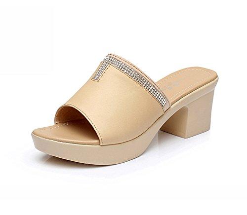Sandles Sandals Heel Leather Fashion Women's Navoku High Beige xYwp8HBaqa