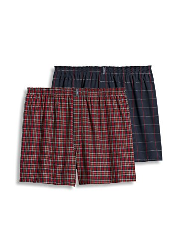 Jockey Men's Underwear Big Man Full Cut Boxer - 2 Pack, red Tartan/Navy Windowpane, 3XL ()