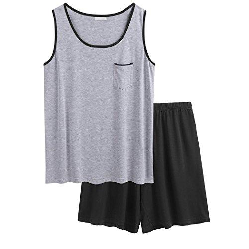 Aimado Men Summer Casual O-Neck Sleeveless Contrast Color Short Pajamas Set Sleepwear(S-XL)