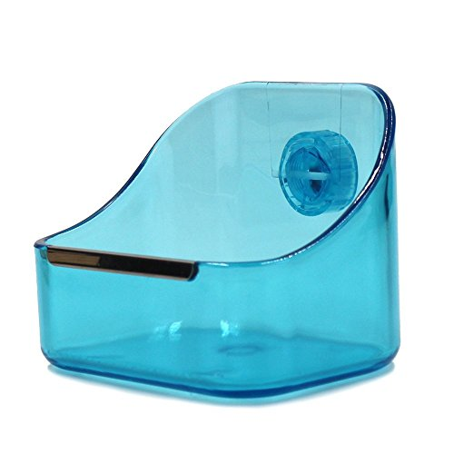 M-Aimee Plastic Cage Feeder Food n Water Hay Bowl Dish for Rabbit Guinea Pig Chinchilla Hamster Ferret (Blue)