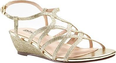Pink Paradox London Women's Opulent Wedge Sandal,Gold Glitter,US ...