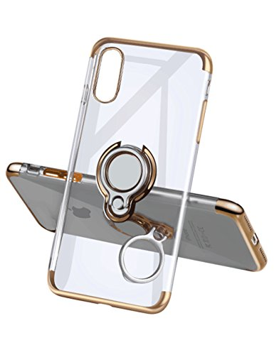 iPhone X Case,Meetree Protective Cover Clear Slim Ultra Thin Case with 360° Rotating Ring Grip Holder Stand Magnetic for Car Mount Shock Absorption Soft Bumper Case for iPhone X iPhone 10(Gold)