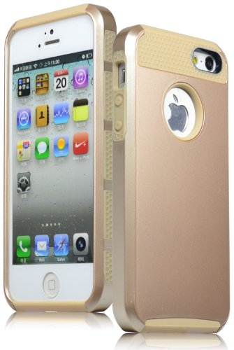 Bastex Heavy Duty Hybrid Rugged Case for iPhone 5, 5s - Gold TPU & Hard Shell