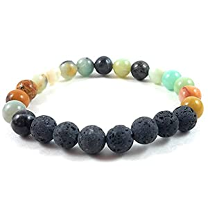 41k2rnD5BUL. SS300  - Authentic Lava Stone Bracelets for Women Essential Oil Aromatherapy for Ideal Stress & Anxiety Relief-Chakra Diffuser Healing Rock Beads-Meditation Yoga Jewelry