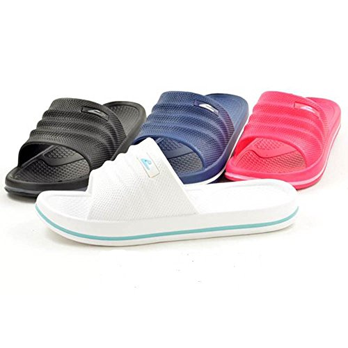 FootprintsPadstow Womens Pool Sliders Rubber Mules Slip On Sandals - rub-SLI-mxd Black cUHCxD