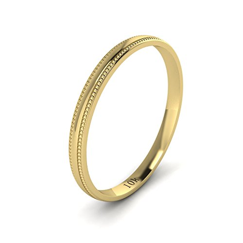 LANDA JEWEL Unisex 10k Yellow Gold 2mm Light Court Shape Comfort Fit Polished Wedding Ring Milgrain Band (Yellow Gold Milgrain Ring)