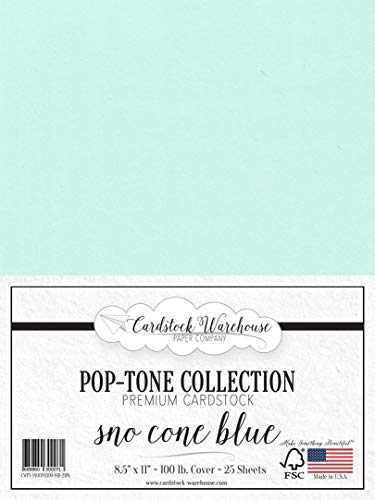 SNO Cone Blue Cardstock Paper - 8.5 x 11 inch 100 lb. Heavyweight Cover -25 Sheets from Cardstock Warehouse