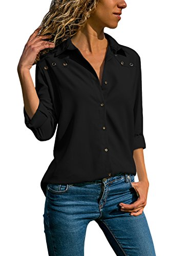 Tiksawon Tops for Women Long Sleeve V Neck Solid Color Shirts Button Down Easy Care Elegant Formal Blouses Black ()
