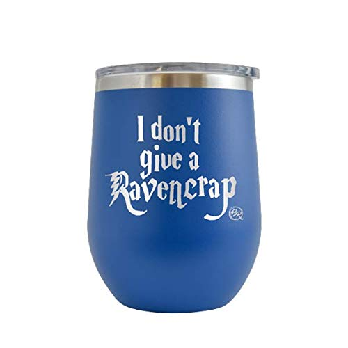 I Don't Give A Raven Crap - Engraved 12 oz Stemless Wine Tumbler Cup Glass Etched - Funny Birthday Gift Ideas for him, her, husband, wife harry potter muggle hp hogwarts Fucker (Royal Blue - 12 oz)