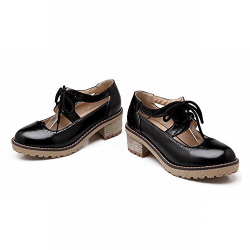 Latasa Womens Chic Hollow-out Lace-up Chunky Mid-heel Spring Summer Oxfords Shoes Black 6uXa0G