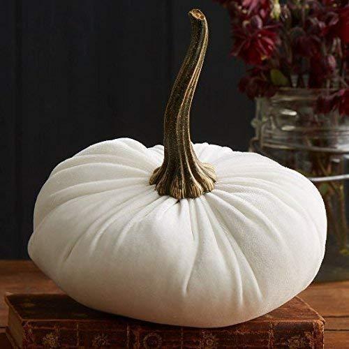 Large Velvet Pumpkin Ivory, Handmade Home Decor, Wedding, Holiday Mantle Decor, Centerpiece, Fall, Halloween, Thanksgiving