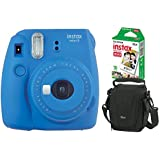 Kit Câmera Instantânea Instax Mini 9 Azul Cobalto + Filme Instax Mini 10 fotos + Bolsa Lowepro Preta