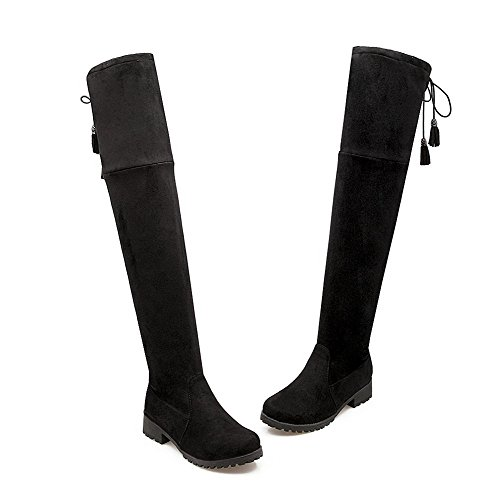 Round Toe Closed Boots Black Women's up Allhqfashion Frosted High Top Lace Low Heels WSqn84qT