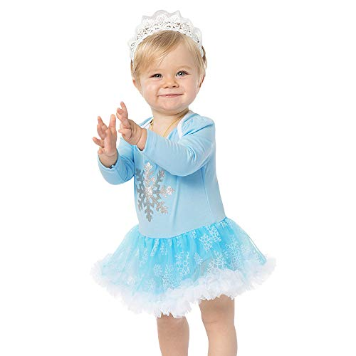 Christmas Baby Snowflake Dress Lace A-Line Tutu Tulle Outfits with Headbands]()