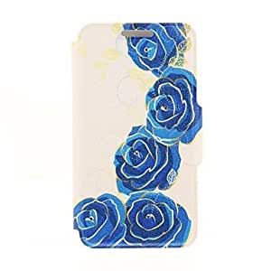 PEACH Phnom Penh Blue Rose Diamond Paste Pattern PU Leather Full Body Case with Stand for iPhone 5/5S