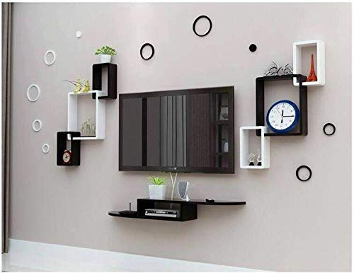 The Wood Concept Multipurpose Wall Shelf 2 Interlock and A Set Top Box Stand TV Entertainment Unit Black & White