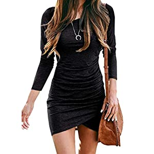 Best Epic Trends 41k2tz8E7oL._SS300_ BTFBM Women Fashion Ruched Elegant Bodycon Long Sleeve Wrap Front Solid Color Casual Basic Fitted Short Dresses