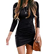 BTFBM Women Fashion Ruched Elegant Bodycon Long Sleeve Wrap Front Solid Color Casual Basic Fitted...