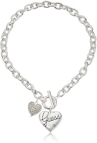 """GUESS """"Basic Silver Logo Heart and Pave Heart Toggle Pendant Necklace"""