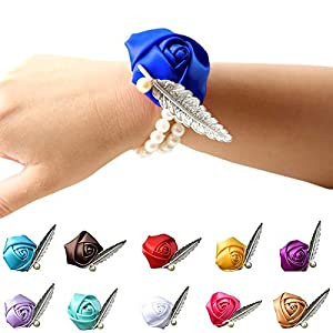 Flowers Artificial - 19 Colors Rose Wrist Corsage Bridesmaid Sisters Hand Flowers Artificial Bride Decoration Bridal - Purple Small Blush Cherry White Decoration Blue Bathroom Green Tall 53