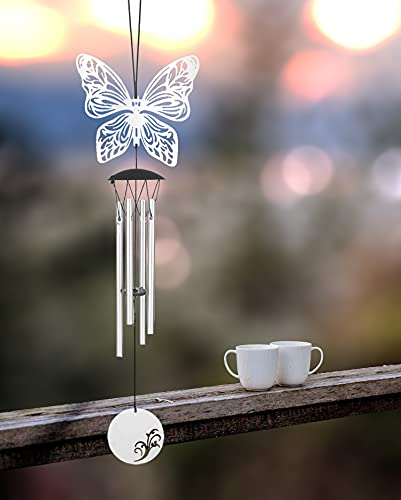 Small Wind Chimes for Outside Deep Tone 4 Tube Music Windchimes Outdoor Clearance Meditation Gifts for Patio Garden Yard Home Decor (Butterflies)