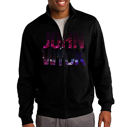 Film Noir Costume Design (HEHE Men's Zip-up Jacket Hooded Hoodies Neo-noir Action Thriller Film John Reeves Size S Black)