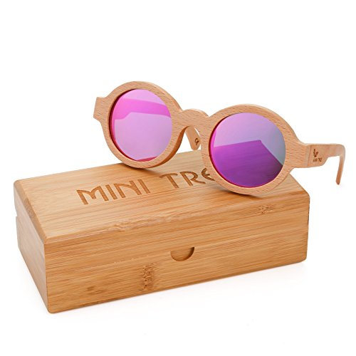 Mini Tree Beech Polarized Sunglasses Retro Round Wooden Shades With Nice Case (Wooden, Orchid - Eyeglass Wooden Frames