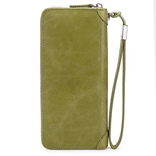 Women Leather Wallet Rfid Blocking Large Capacity Zipper Around Travel Wristlet Bags (Palm Green) by Doris&Jacky (Image #5)